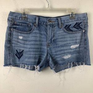 Lucky Brand Cut Off Denim Distressed Jean Shorts